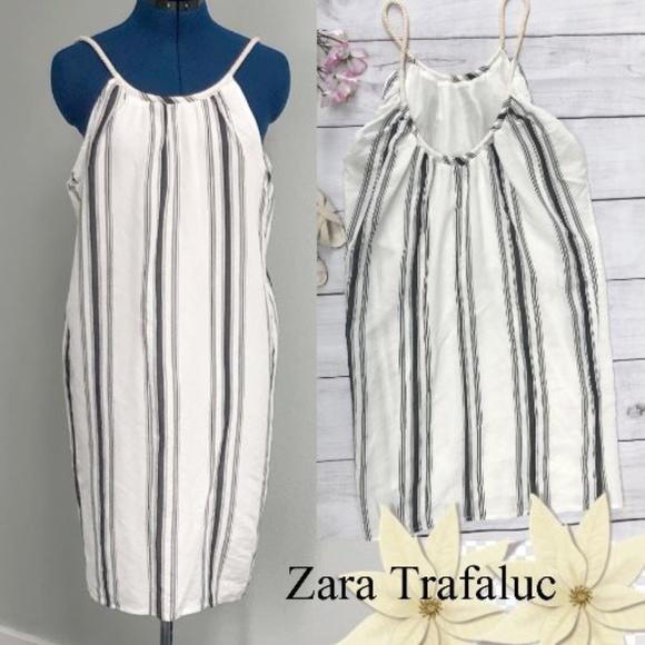 Zara Dresses & Skirts - Zara Trafaluc White Dress, Blue Vertical Stripes